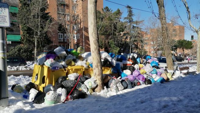 Aspecto de unos contenedores de la calle Antonio Machado de Madrid.