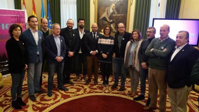 El director del Festival Internacional de Cine de Gijón (FICX), Alejandro Díaz Castaño, en una de las presentaciones del certamen en el Ayuntamiento (Archivo)
