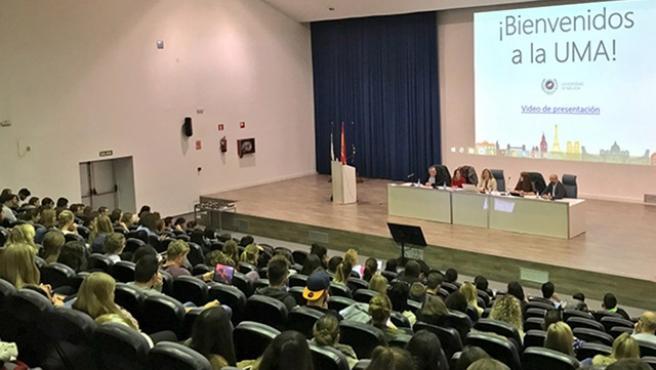 Foto de archivo de una sesión informativa de la UMA para estudiantes erasmus