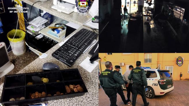 Imágenes de la detención y de los daños provocados por el individuo en los robos