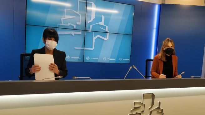 La portavoz de EH Bildu, Maddalen Iriarte, en rueda de prensa