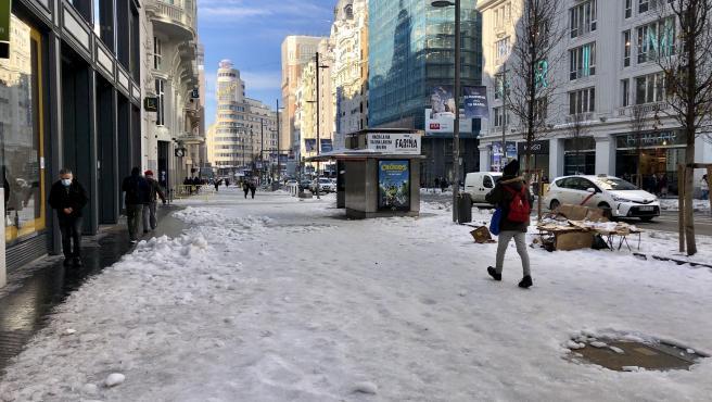 Una calle nevada en Madrid tras el paso de Filomena.