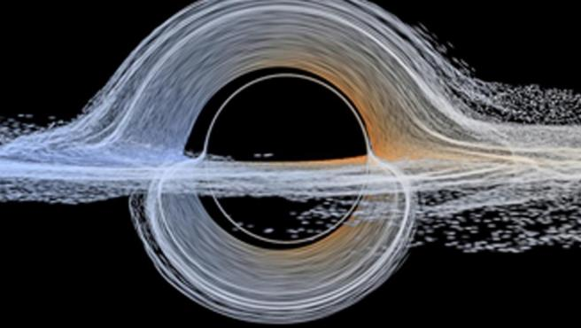 Plasma cerca del horizonte de sucesos a punto de ser devorado por un agujero negro en rotación.