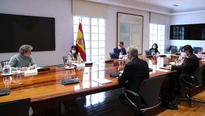 El presidente del Gobierno, Pedro Sánchez, preside la reunión del Comité de Seguimiento del Coronavirus, en Madrid (España), a 15 de enero de 2021.