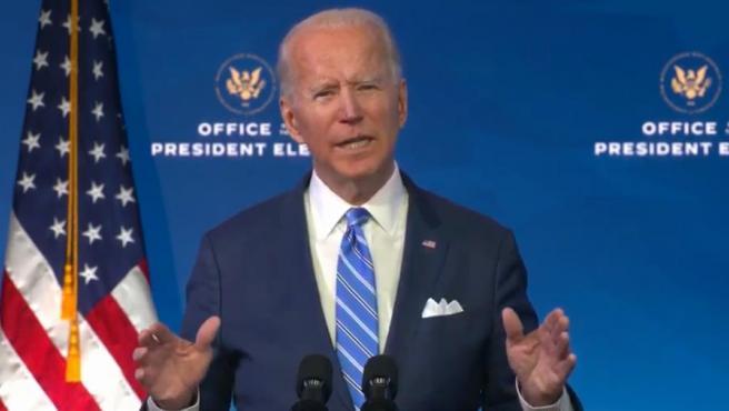 El presidente electo de EE UU, Joe Biden, durante el anuncio de su plan de rescate económico.
