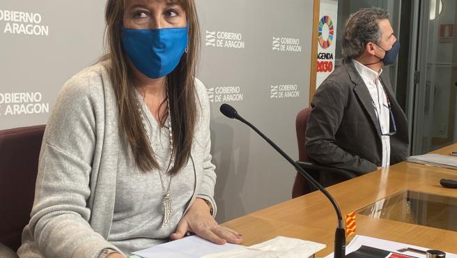 La consejera de Sanidad de Aragón, Sira Repollés, y el director general de Salud Pública, Francisco Javier Falo.