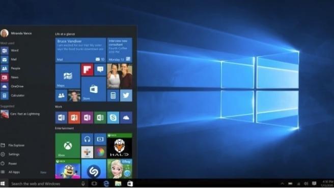 Menú de inicio de Windows 10.