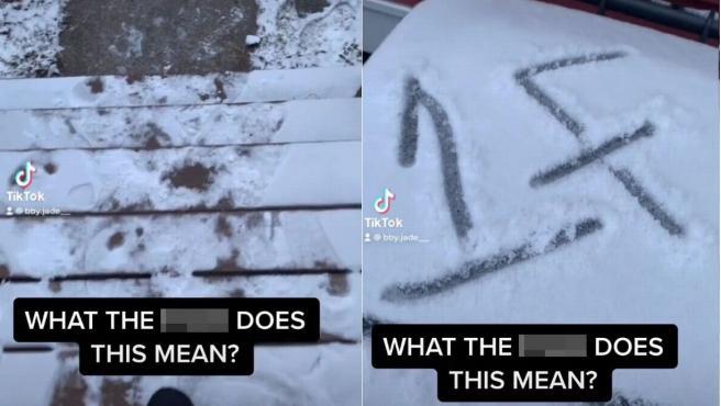 Mensaje en la nieve que encontró una mujer.