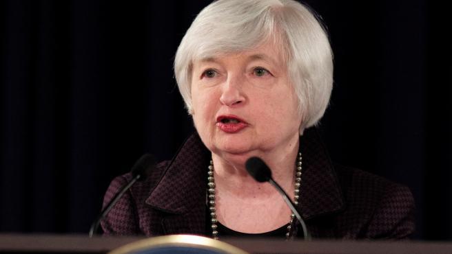 Janet Yellen, entonces presidenta de la Reserva Federal de EE UU, durante una conferencia en 2014.