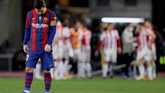 Leo Messi, expulsado en la final de la Supercopa de España.