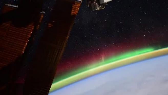 Aurora boreal vista desde la Estación Espacial Internacional