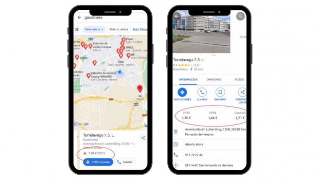 La app muestra el precio de la gasolina sin plomo 95, la 98 y el gasóleo.