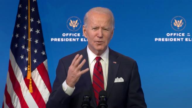 """United States President-elect Joe Biden makes remarks """"on his plan to administer COVID-19 vaccines to the U.S. population"""" from the Queen Theatre in Wilmington, Delaware on Friday, January 15, 2021. .Credit: Biden Transition TV via CNP"""