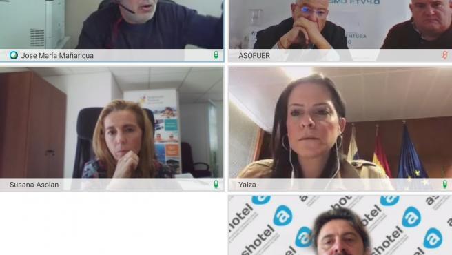 Encuentro digital de la consejera de Turismo del Gobierno de Canarias, Yaiza Castilla, con los presidentes de las cuatro patronales turísticas
