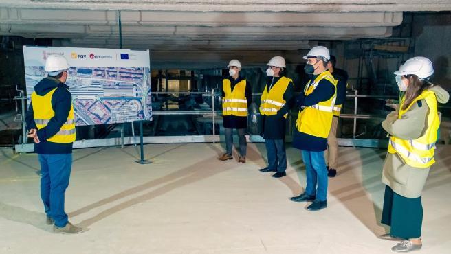 El conseller de Política Territorial, Obras Públicas y Movilidad, Arcadi España, visita las obras del tramo subterráneo de la Línea 10 de Metrovalencia