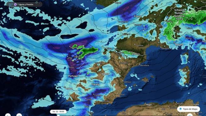 La borrasca Hortense al suroeste de París y las precipitaciones intensas asociadas afectando a la Península Ibérica.