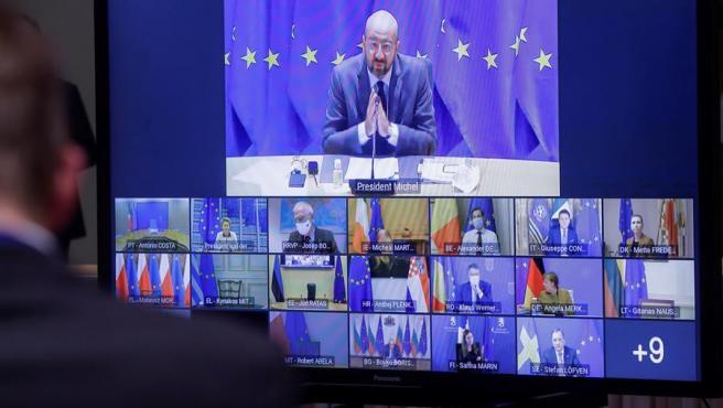 El presidente del Consejo Europeo, Charles Michel, durante la celebración de la Cumbre por videoconferencia de Jefes de Estado y de Gobierno para la contención del coroanvirus.