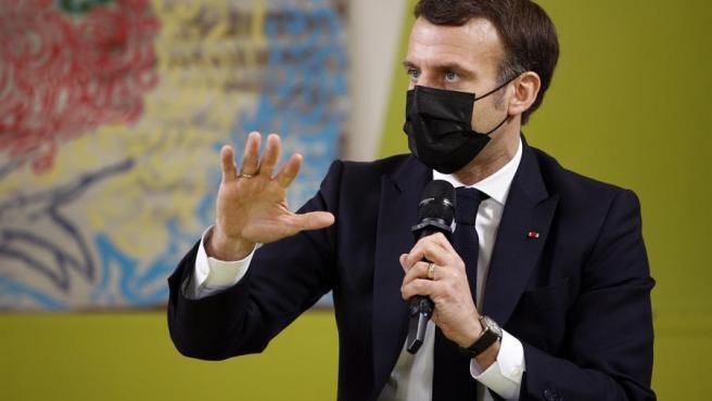 El presidente de Francia, Emmanuel Macron, durante un encuentro con estudiantes en la Universidad Paris Saclay, cerca de París.