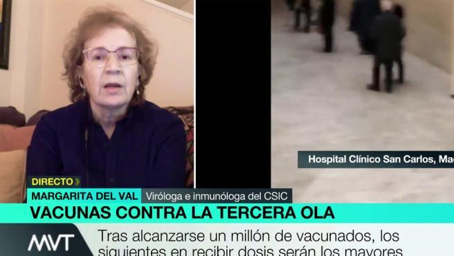 Margarita del Val, entrevistada en el programa 'Más Vale Tarde'.