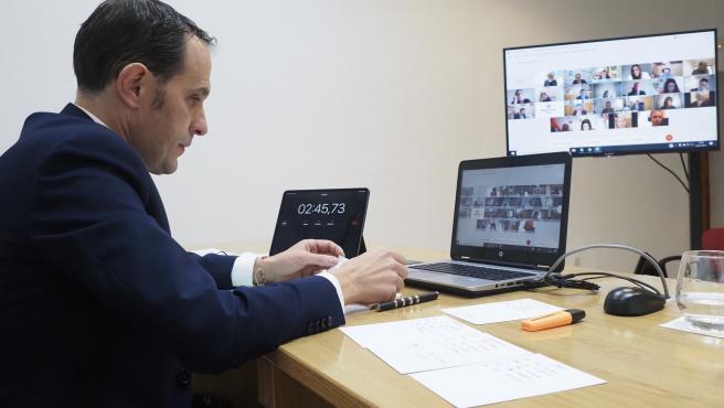 Photogenic/Miguel Ángel Santos. Valladolid. 22/01/2021. Pleno ordinario de la Diputación de Valladolid del mes de enero