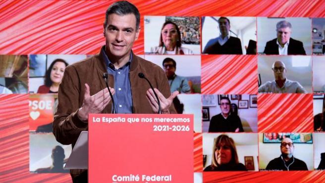 El presidente del Gobierno, Pedro Sánchez durante el Comité Federal del partido en la sede del PSC en Barcelona.