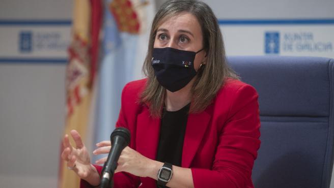 A conselleira de Infraestruturas e Mobilidade, Ethel Vázquez, presenta en rolda de prensa os proxectos propostos pola Xunta para fomentar a mobilidade sostible e a modernización do transporte ao abeiro do Plan de recuperación, transforma