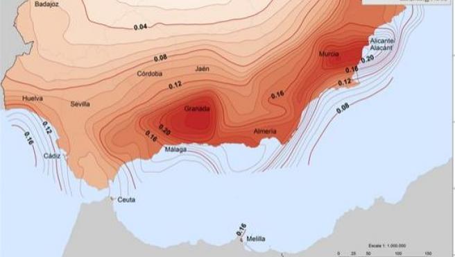 Mapa de peligrosidad sísmica de España, de la región sur peninsular, para periodo de retorno de 475 años, (IGN) correspondiente a la actualización de 2012.