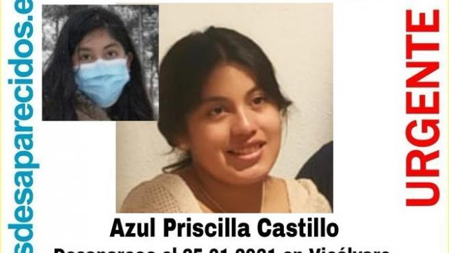 Azul Priscilla Castillo, desaparecida en Vicálvaro, Madrid.