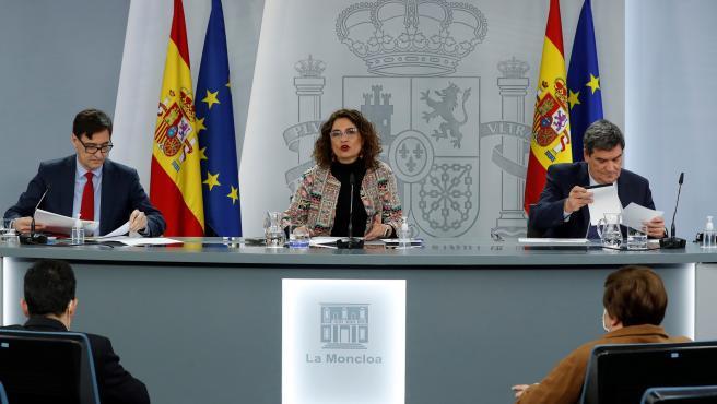 Illa, Montero y Escrivá este martes en Moncloa.