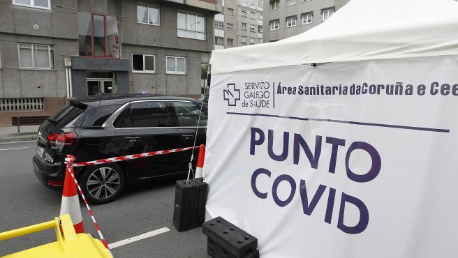 Punto COVID habilitado en el Ventorillo, en A Coruña, para realizar las pruebas PCR