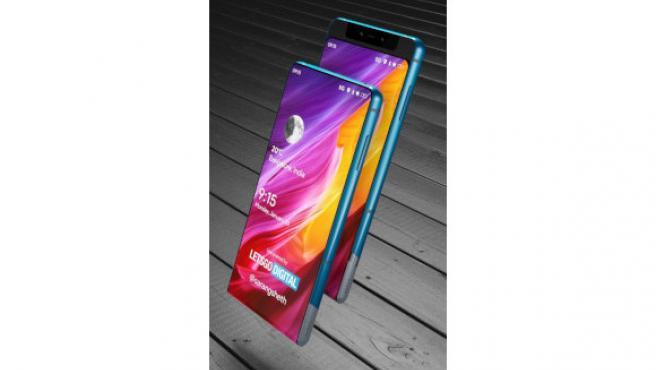 Imagen de cómo luciría el móvil en posición normal y con la pantalla deslizada