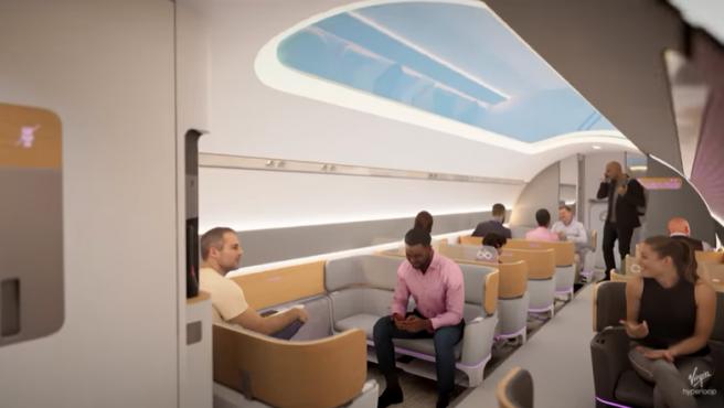 Imagen de un vagón interior del Hyperloop de Virgin.