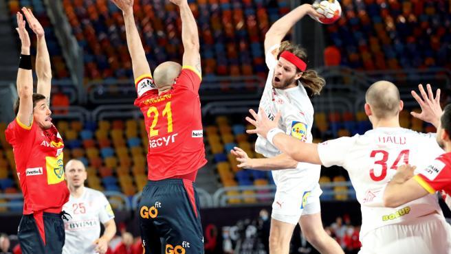 Mikkel Hansen, en el España-Dinamarca de balonmano