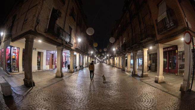 Una persona pasea su perro junto a establecimientos cerrados en Alcalá de Henares (Madrid).