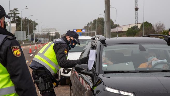 Control fronterizo entre Extremadura y Portugal.