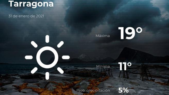 El tiempo en Tarragona: previsión para hoy domingo 31 de enero de 2021