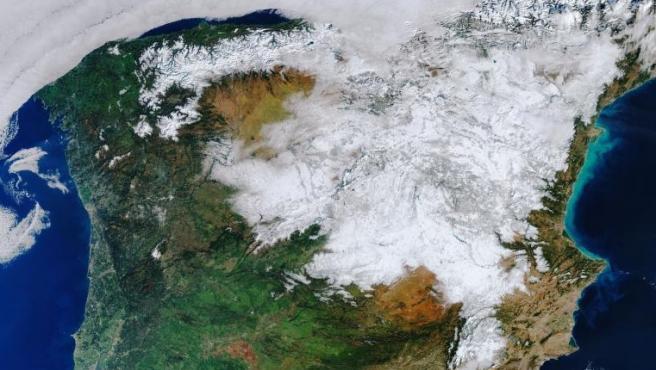 Manto de nieve dejado por la borrasca Filomena.