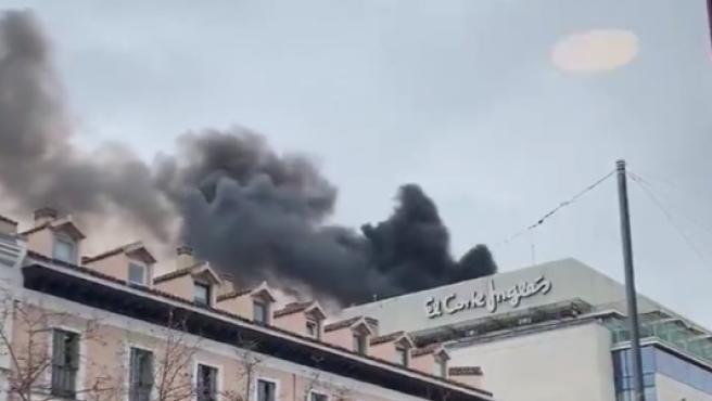 Incendio en el Corte Inglés de Serrano.