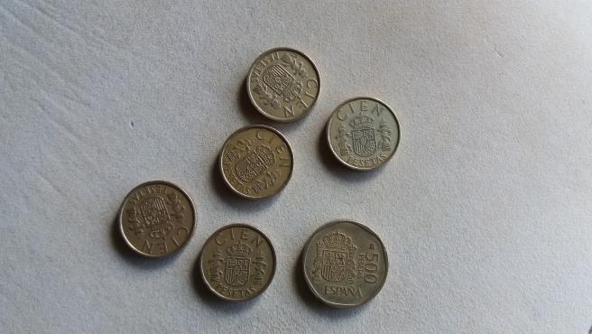 Imagen de archivo de monedas de pesetas.