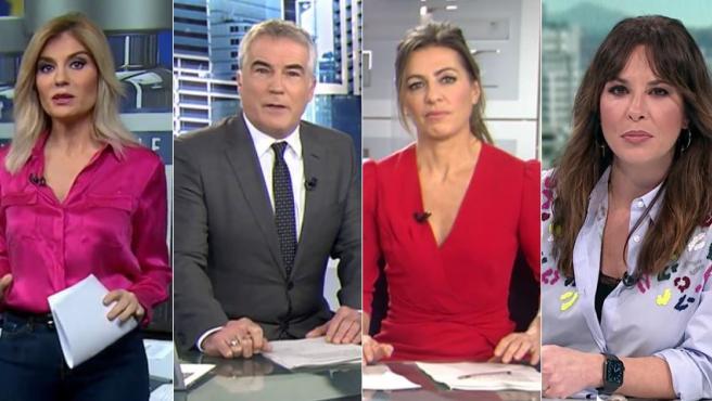 De izquierda a derecha: Sandra Golpe, presentadora de Antena 3 Noticias 1; David Cantero, presentador del Informativo de Telecinco del mediodía; Ángeles Blanco, presentadora de fin de semana del mismo canal; y Mamen Mendizábal, presentadora de 'Más vale tarde', de laSexta.