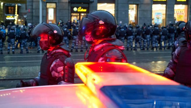 PPolicías antidisturbios en Moscú, Rusia