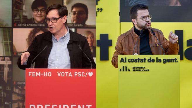 Combo de imágenes de los candidatos del PSC y ERC a la Generalitat, Salvador Illa y Pere Aragonés.