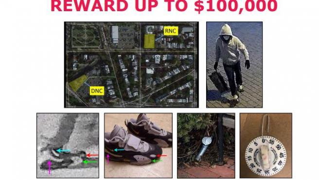 Cartel del FBI con información sobre la búsqueda de la persona sospechosa de haber colocado un explosivo cerca del Capitolio.