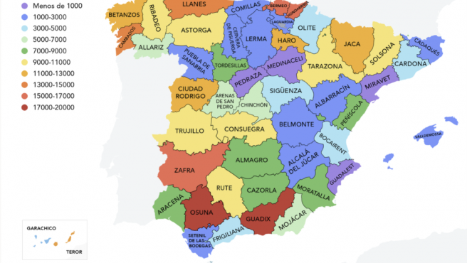 Mapa con los 50 pueblos más populares de cada provincia.