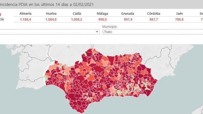Tasa de incidencia acumulada de los municipios andaluces.