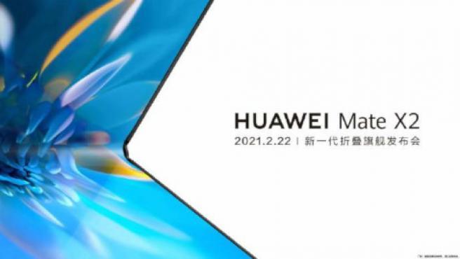 Imagen parcial del Mate X2 publicada por Huawei en Weibo