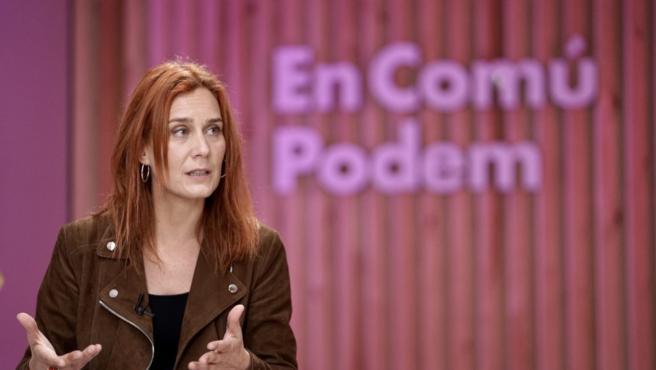 La candidata de En Comú Podem, Jéssica Albiach, durante un coloquio en la sede de los comunes.