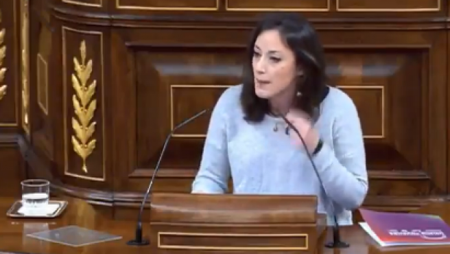 La diputada de Podemos en la tribuna