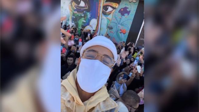 Maluma, en el encuentro con sus fans en Miami.