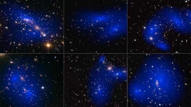 Interacción de galaxias y materia oscura, coloreada en azul.